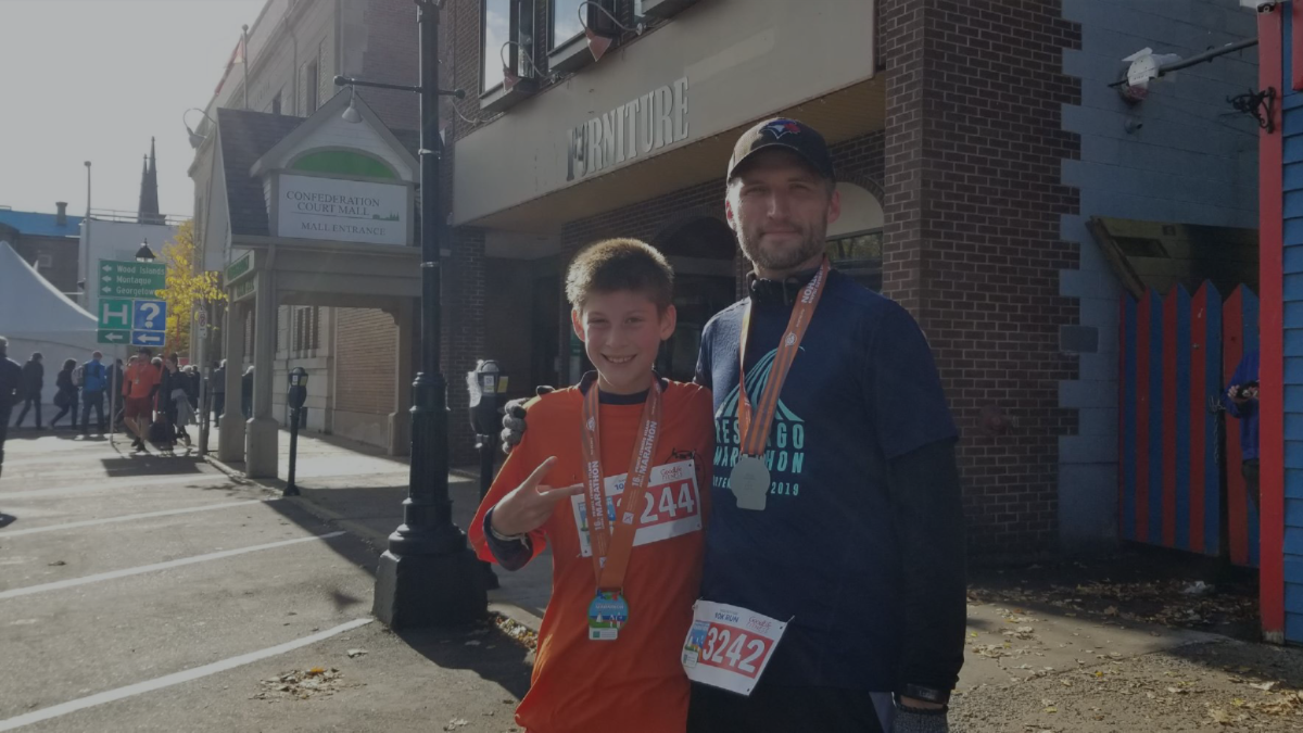 Eshan and I after running 10 k at the PEI Marathon