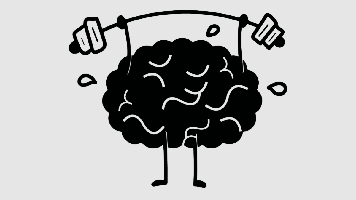 A cartoon brain lifting a barbell